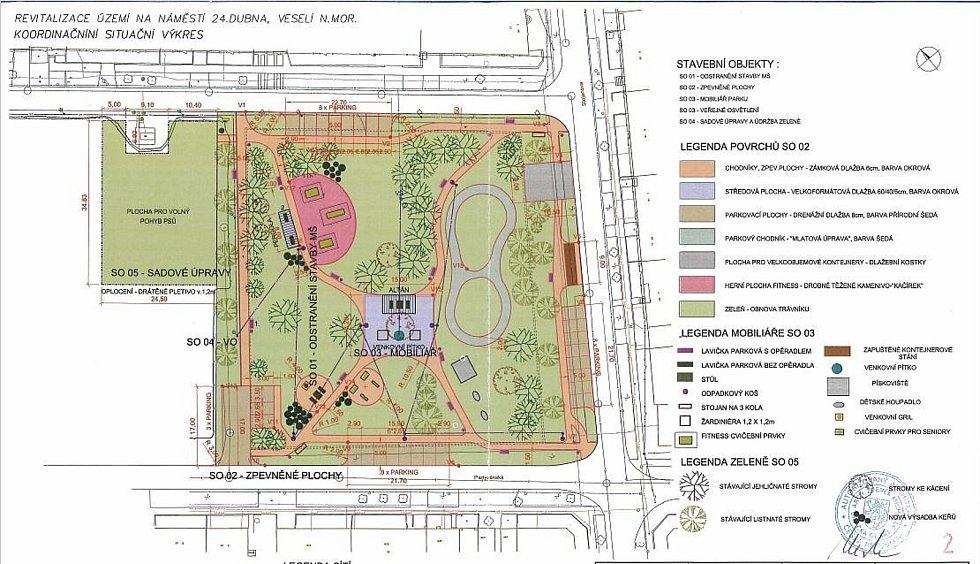 Plánovaná podoba náměstí 24. dubna ve Veselí nad Moravou, kde se nyní rozprostírá areál bývalé mateřské školy.