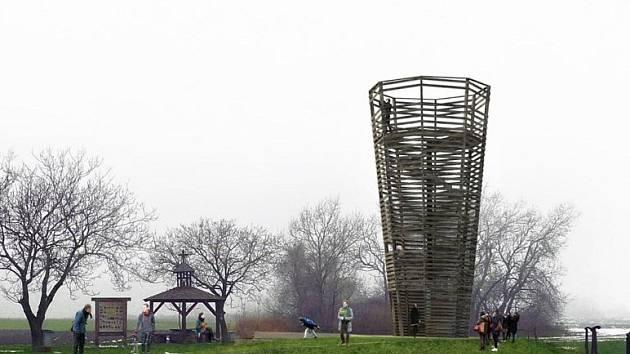 Vítěz architektonické soutěže na rozhlednu na Nákle od Michaela Bugáně, Zuzany Krajčiové a Petra Neumanna.