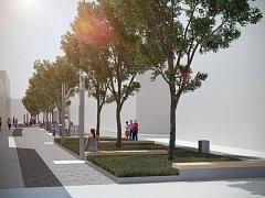 Vizualizace pěší zóny ve Veselí nad Moravou. Ta by měla v budoucnu být i kolem náměstí Míru.