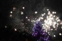 Novoroční ohňostroj v Hodoníně.