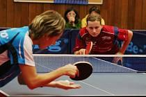 Mezi Matelovou a Štrbíkovou (v modrém) se hrály dlouhé výměny.