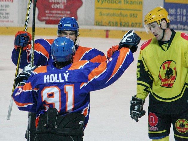 2. liga, východ: SHK Hodonín (v modrém) vs. HC Uničov