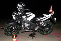 Nehoda dvou motocyklů u Prušánek.