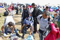 Z uprchlického tábora na maďarsko-srbské hranici v Röszke.
