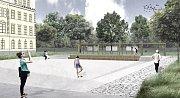 Architektka Martina Černá představila svou vizi úpravy náměstí Hrdinů před Klvaňovým gymnáziem.
