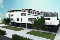 První z trojice polyfunkčních domů na městské tržnici. Nabídne osmnáct bytů.