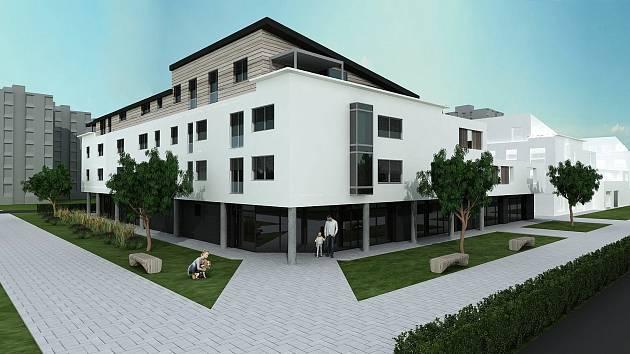 Prvním z trojice nových polyfunkčních domů, které mají stát na dosluhující městské tržnici ve Veselí nad Moravou.