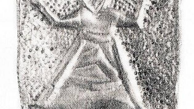 Rub velkého stříbrného nákončí s postavou oranta od mikulčické baziliky.