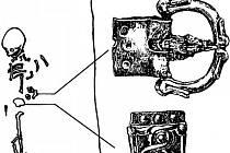 Přezka a nákončí mladého velmože z hrobu číslo 70 od šetého mikulčického kostela.