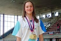 Mladá hodonínská plavkyně Lucie Zubalíková získala na letním žákovském mistrovství České republiky čtyři zlaté a jednu stříbrnou medaili.