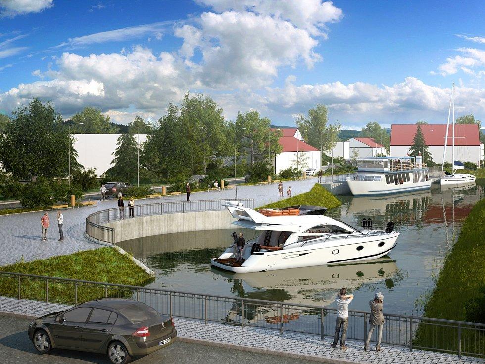 Vizualizace nového přístavu, přístaviště i obratiště v Hodoníně. Ilustrační foto.