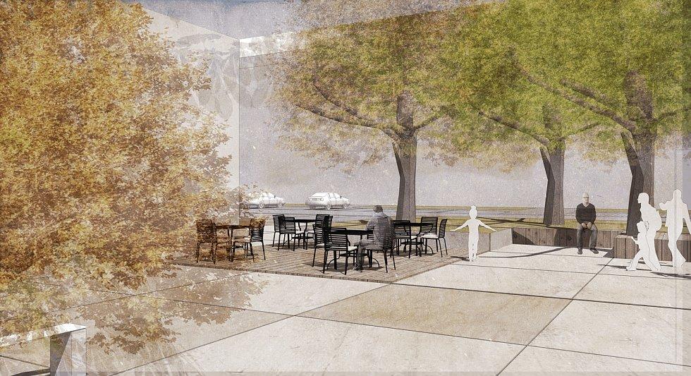 Vizualizace nové podoby okolí obchodního centra Rozmarýnek v Hodoníně.