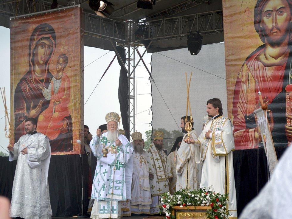 Pravoslavná bohoslužba při Setkání kultur ve Slovanském hradišti v Mikulčicích.