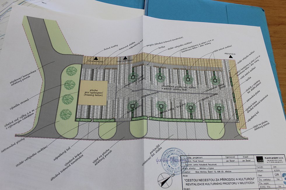 Kulturní dům v Miloticích a jeho okolí. Návrh nové podoby okolí.