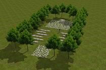 Vizualizace Stromové kaple vnitřního ticha u Nové Lhoty.