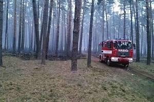 Požár lesa mezi Vracovem a Rohatcem.
