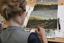 Zájemci o studium si mohli prohlédnout útroby odloučeného pracoviště hodonínské průmyslovky, kde jsou umělecké ateliéry.