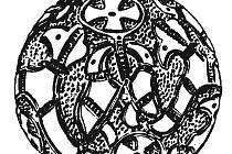 Velký stříbrný gombík s ptačími motivy od dvanáctého kostela v Mikulčicích.