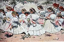Lid při práci, při zábavě, v kostele, na poli… To vše maloval Joža Uprka. Na jednom z jeho obrazů jsou dívky v krojích při modlitbě.
