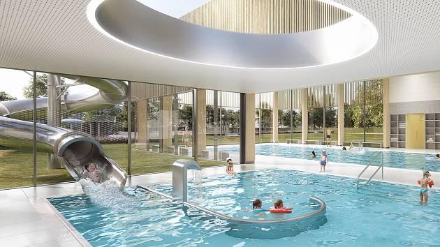 Vítězný návrh nového koupaliště v Kyjově.
