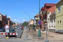 Opravy Měšťanské ulice v Hodoníně.