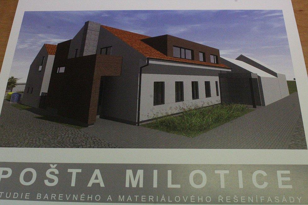 Budoucí podoba budovy pošty v Miloticích i s trojicí nových bytů.