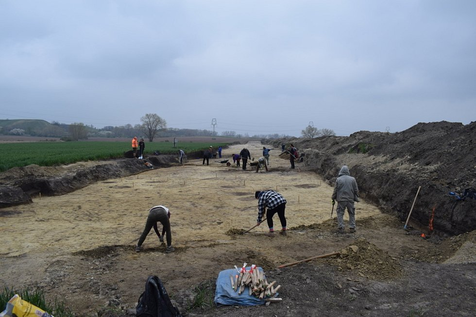 Práce na záchranném archeologickém výzkumu před stavbou tranzitního plynovodu Moravia.