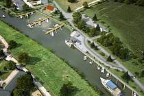 Vizualizace nové plavební komory v Hodoníně i s turistickým přístavem. Ilustrační foto.