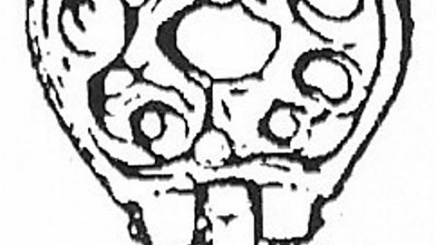 Bronzové kování opasku s motivem dvou gryfů z Mikulčic.