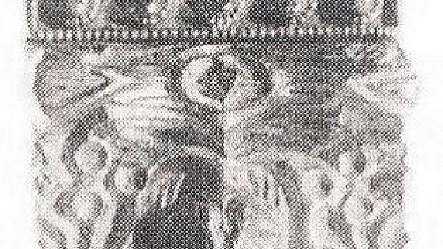Mikulčické nákončí se zvířecím motivem na líci z hrobu od baziliky.