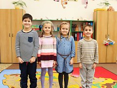 Žáci první třídy ze Základní školy a Mateřské školy v Kněždubu.