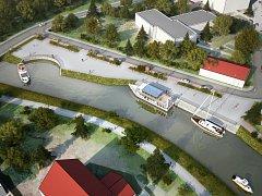Vizualizace nové plavební komory v Hodoníně i s turistickým přístavem.