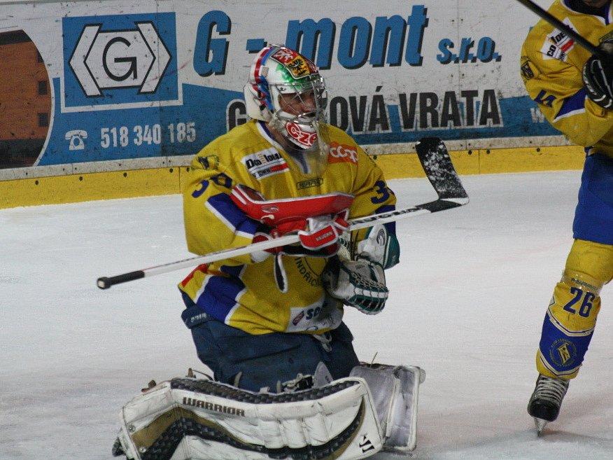 Útočník SHK Jiří Goiš zajistil premiérovým hattrickem ve druhé lize Hodonínu vítězství nad Jindřichovým Hradcem.