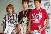 Nejlepší starší žáci hodonínské okresu. Vlevo druhý Filip Sasínek, uprostřed první Jakub Žurovec a vpravo třetí Dalibor Čagánek.