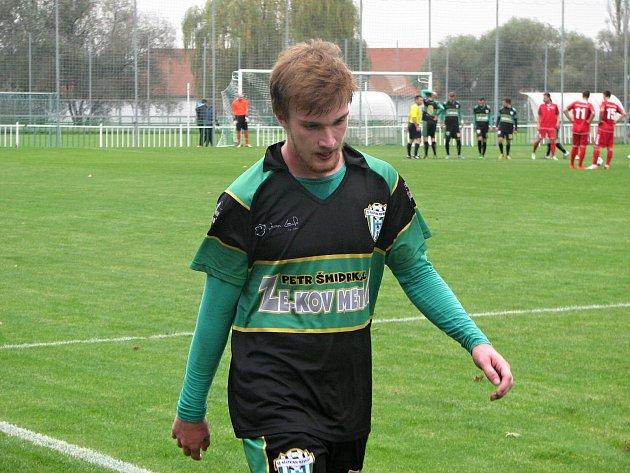 Bzenecký obránce Tomáš Košut (na snímku) byl ve 28. minutě sobotního zápasu správně vyloučen. Slovan i v deseti remizoval s Brumovem 2:2.