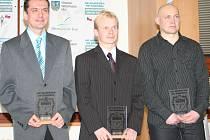 Mužům kraloval Dušan Tomčal (uprostřed). Druhý Jiří Brožík (vlevo) vyhrál Grand Prix Slovácka 2009.