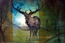 Jakub Dobeš vystavuje v Kyjově návrhy svých tetování i akrylové obrazy.