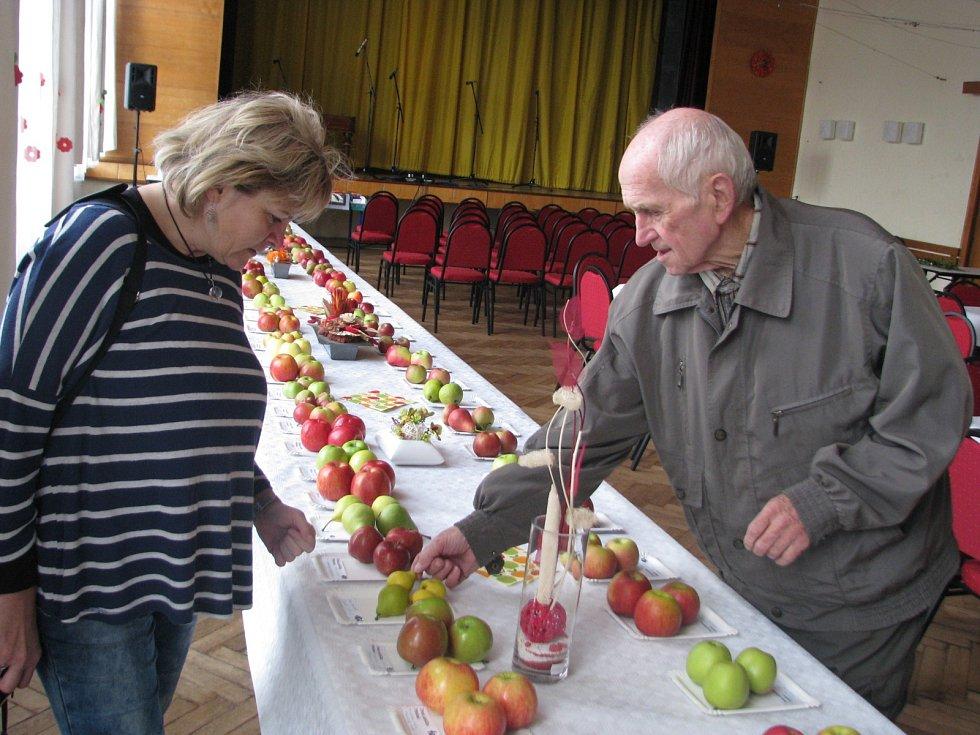 Slavnost jablíček v Hroznové Lhotě. Lidé ochutnali čerstvé mošty a prohlédli si výstavu.