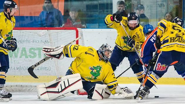 Hodonínští hokejisté rozhodující utkání semifinále play-off hodně nezvládli. Do finále play-off postupují šumperští Draci.