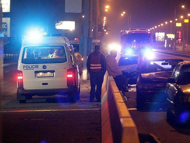 Nehoda ve Vídeňské ulici v Brně.