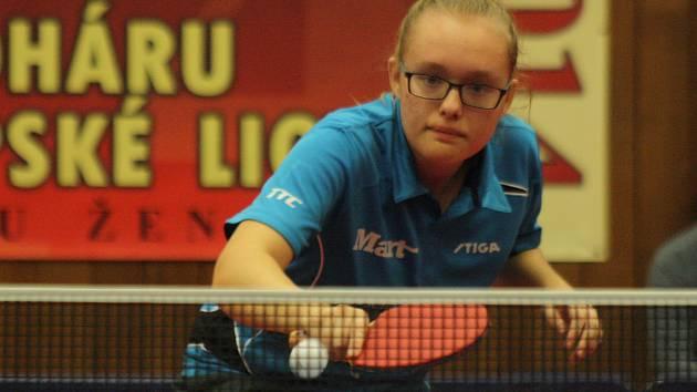 Šikovná stolní tenistka Markéta Ševčíková dvěma body pomohla Hodonínu k jednoznačné výhře nad Břeclaví.