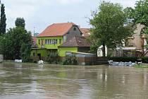 Pohled na rozvodněnou řeku Moravu ve Veselí nad Moravou.