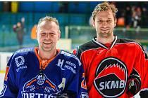 Zkušený hokejový útočník Martin Špok (vpravo) se vrátil do Hodonína, kde nastoupil i proti bývalému spoluhráči Zdeňku Juráskovi. Béčko Drtičů ve 12. kole Krajské ligy jižní Moravy a Zlínska zvítězilo nad Boskovicemi 5:1.