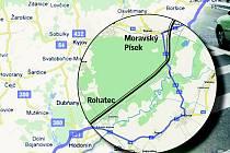 Zamýšlená trasa rychlostní silnice R55