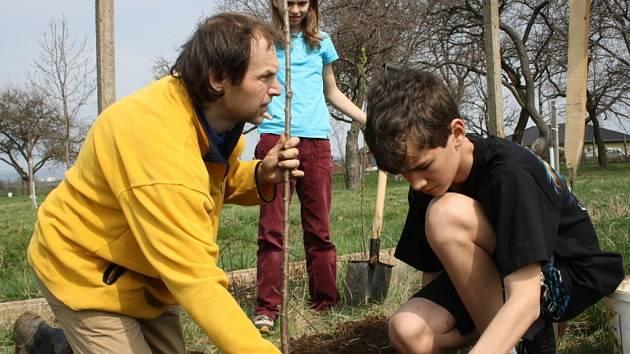 V areálu Bajarova sadu u Základní školy a mateřské školy v Hroznové Lhotě, vysadili žáci na tři desítky stromků starých ovocných odrůd.