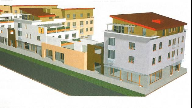 Studie plánovaného bloku polyfunkčních domů v areálu městské tržnice.