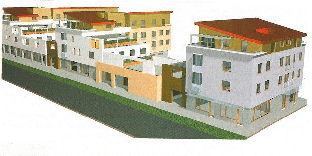 Studie plánovaného bloku polyfunkčních domů vareálu městské tržnice.