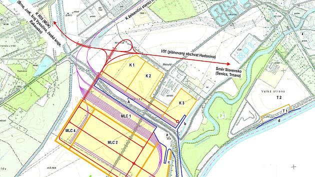 Na téměř osmdesáti hektarech na okraji Hodonína plánuje společnost DOE Europe překladiště a nový přístav, z něj by se zboží dostalo po Moravě na dunajskou vodní cestu mezi holandským Rotterdamem a rumunskou Konstancií. Ilustrační foto.