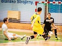 V divizi futsalistů deklasoval PRO-STASTIC Blansko (v bílých dresech) Mitru Brno 19:3.