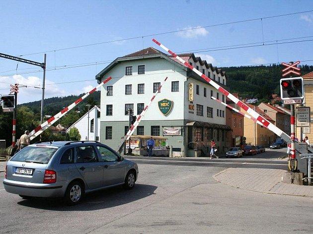 Železniční přejezd v Blansku.